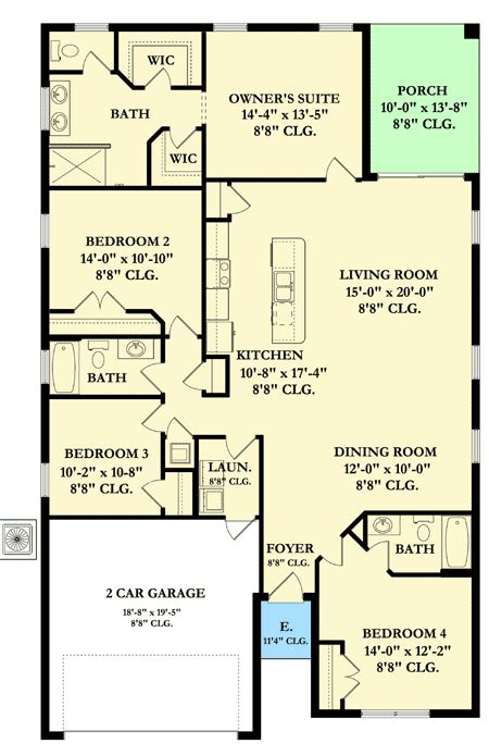 One Story Four Bedroom House Plans by Four Bedroom One Story House Plan 82055ka