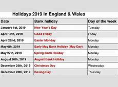 Get Printable 2019 Calendar US & UK Holidays Free