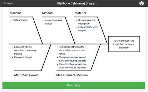 fishbone ishikawa diagram collect track data tulip