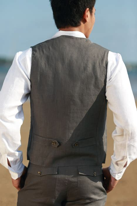 mens linen gray vest beach wedding island importer