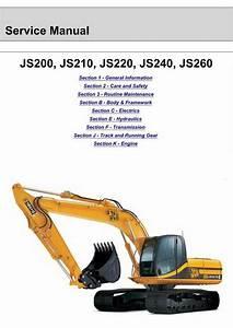 Jcb Js200  Js210  Js220  Js240  Js260 Tracked Excavator