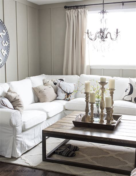 White Living Room Table Ls by Ektorp Sectional With White Slipcovers For The Living Room