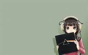 Headphones, Pink, Floyd, Simple, Background, Anime, Girls, Original, Characters, Wallpapers, Hd