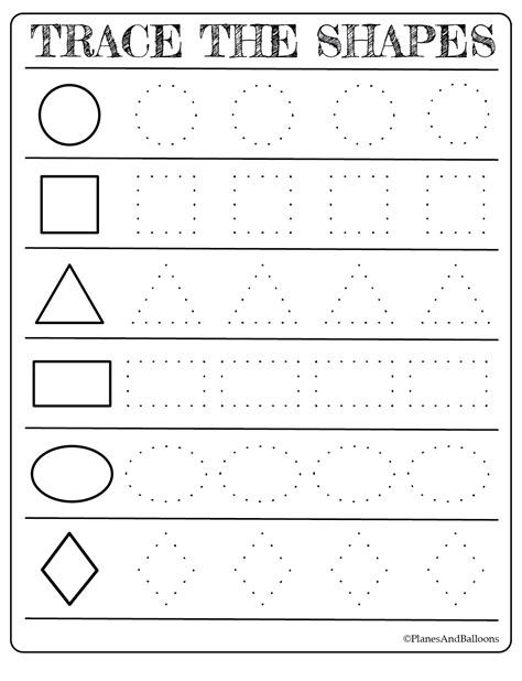 printable shapes worksheets  toddlers