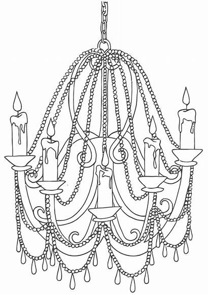 Chandelier Coloring Colouring Chandelier2 Template