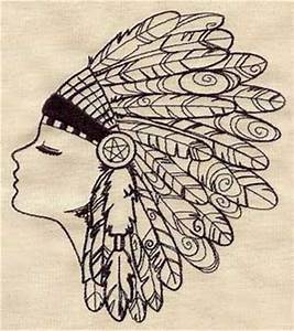 Native American Feather Headdress Embroidered Flour Sack