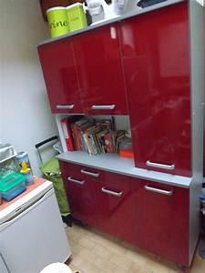 Meuble Cuisine Rouge Laqué : meuble de cuisine rouge laqu mon vide grenier ~ Teatrodelosmanantiales.com Idées de Décoration