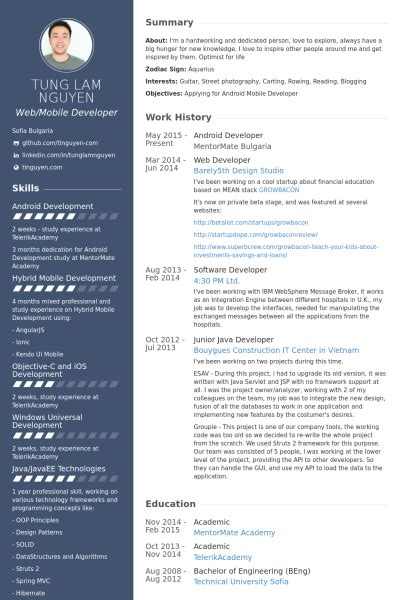 Web Developer Cv Template by Android Developer Resume Sles Visualcv Resume Sles Database