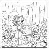 Palette Princess Easel Brush Coloring Park Draws Outlined Ukraine Artist sketch template