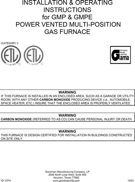 Goodman Gmp User Manual Gas Furnace Manuals