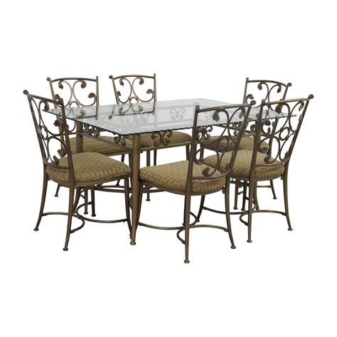 Table Sets Wrought Iron by 90 Glass And Gold Wrought Iron Dining Set Tables