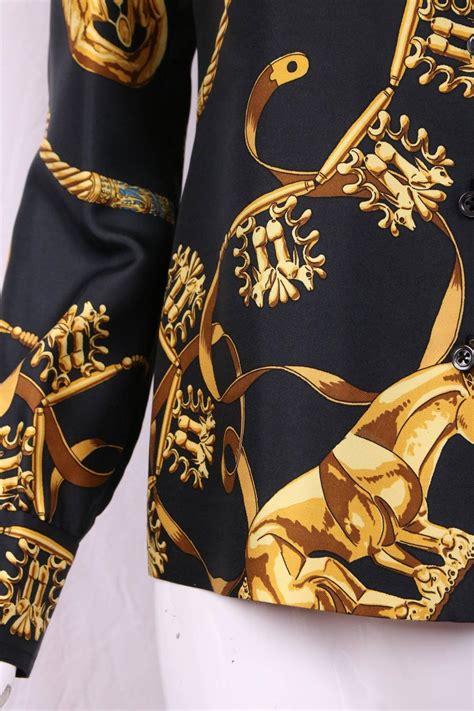vintage hermes black  gold silk print blouse shirt top