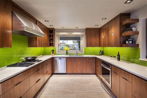 brown  green modern kitchen  green backsplash hgtv
