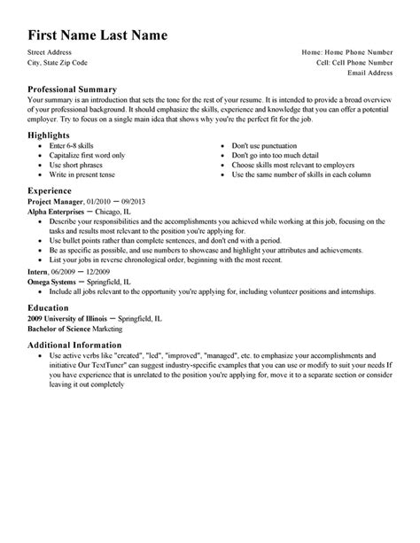 Resume Templates by Standard Resume Templates To Impress Any Employer Livecareer