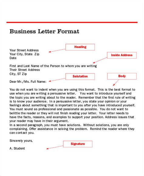 business letter format  samples  business