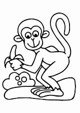 Coloring Monkeys Pages Children Printable Justcolor sketch template