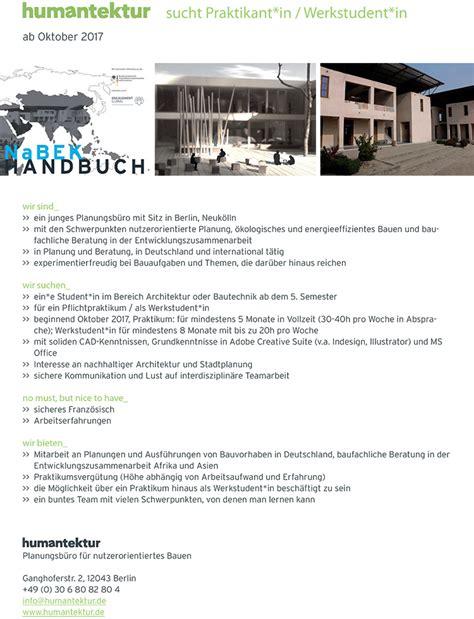architektur praktikum praktikum bei humantektur