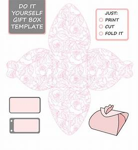 Favor  Gift Box Die Cut  Box Template With Rose Pattern