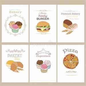 Set Of Baker And Fast Food Brochures.. Stock Vector ...