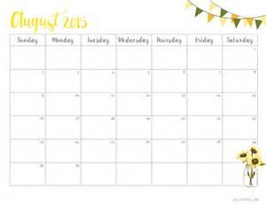 Cute August 2017 Calendar Printable Free