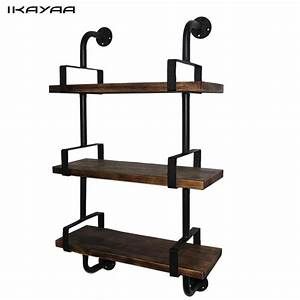Ikayaa, 3, Tier, Rustic, Industrial, Iron, Pipe, Wall, Shelves, Wood, Planks, Bookcase, Storage, Floating