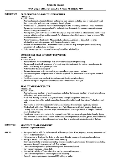 Underwriter Resume by Real Estate Underwriter Resume Insurance Underwriter