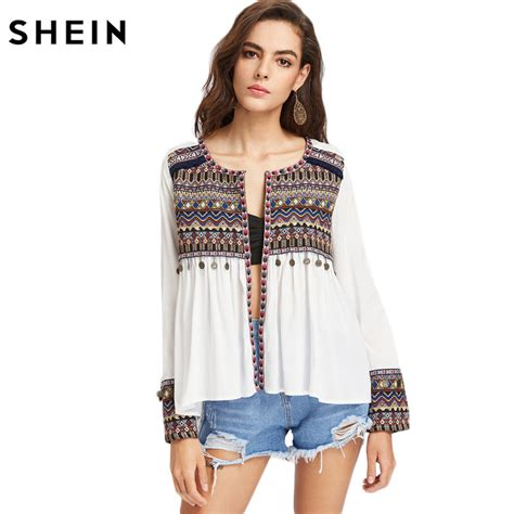 blouses for sale best sale shein boho blouses for embroidered yoke