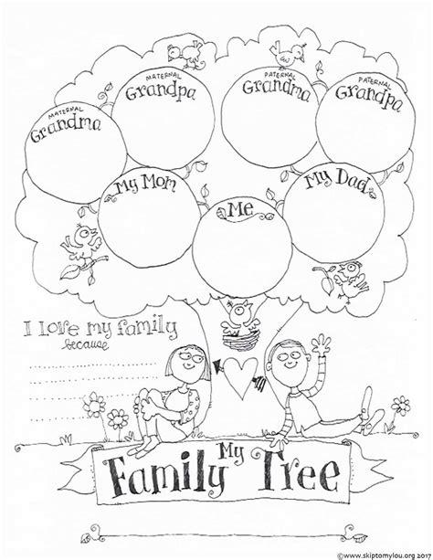printable family tree coloring sheet simply print