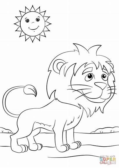 Lion Coloring Cartoon Pages Tamarin Printable Kolours