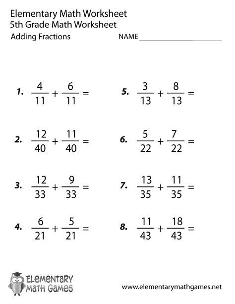 grade adding fractions worksheet