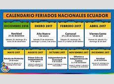 Ley de Feriados en Ecuador publicada en el Registro