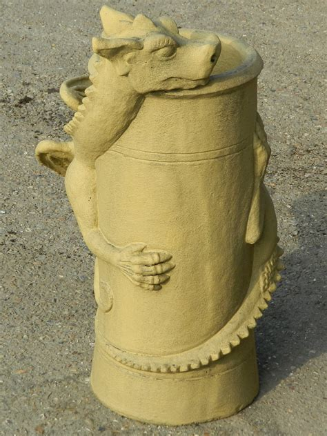 A chimney is an architectural ventilation structure made of masonry, clay or metal that isolates hot toxic exhaust gases or smoke produced by a boiler, stove, furnace. Chimney pot dragon bath stone