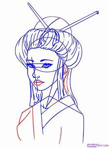 How To Draw A Geisha Girl Step By Step Faces People