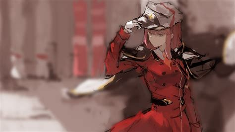 darling   franxx   wearing red dress  brown