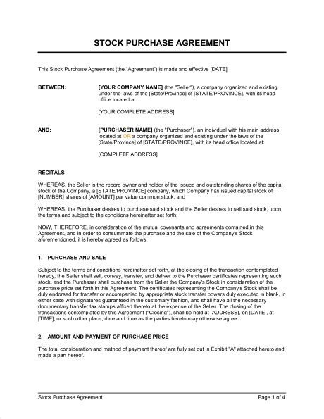 stock purchase agreement template stock purchase agreement template sle form biztree