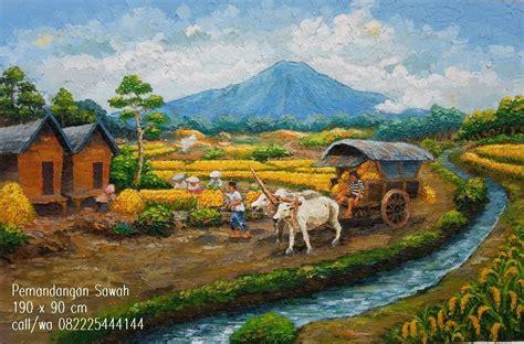 Lukisan Pemandangan Sawah Lukisan Pemandangan Pisau Palet