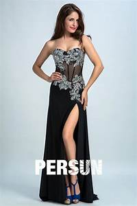 Haut Habillé Pour Soirée : tendance robe noire longue haut bord sexy jupe fendue pour soir e ~ Melissatoandfro.com Idées de Décoration