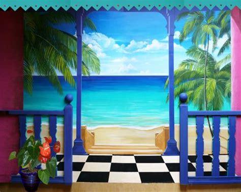 trompe l oeil decor mural mer exotique trompe l oeil et peinture mu
