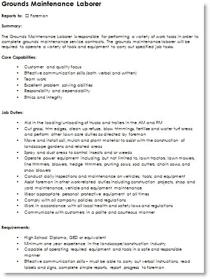resume format resume templates grounds foreman