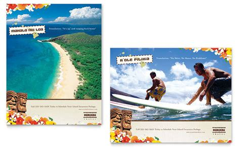 letterheads template free hawaii travel vacation poster template design