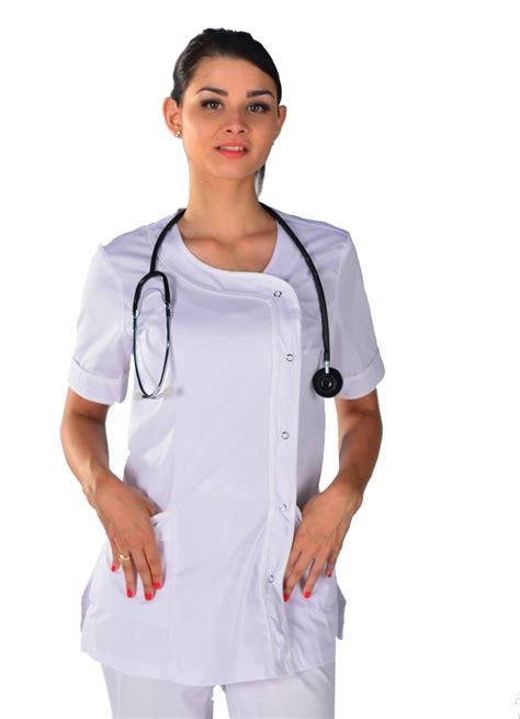 blouse de cuisine pas cher tunique médicale blanche clinic look blouse infirmière mylookpro