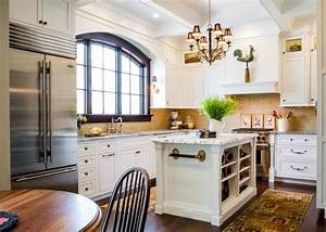Gorgeous White French Country Kitchen With Arched Window