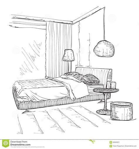 coloriage de chambre de fille croquis intérieur moderne de dessin de vecteur de chambre