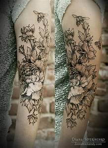 15+ Black And White Floral Tattoo Designs