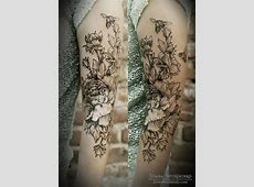 And Black White Sleeve Tattoos Floral 1
