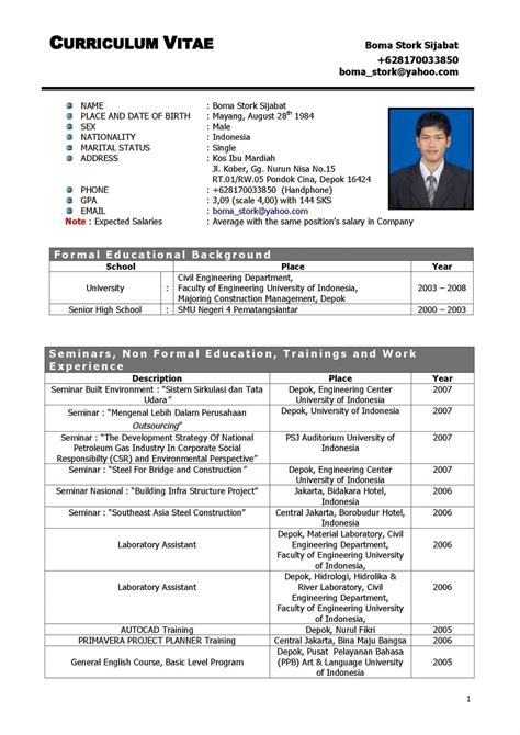 Cv Outline by Referensi Contoh Curriculum Vitae Outline 38 Tentang