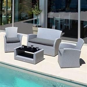 Salon De Jardin 4 Places : salon de jardin ibiza gris clair 4 places salon de ~ Farleysfitness.com Idées de Décoration