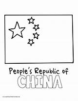 Coloring Flag Chinese China sketch template