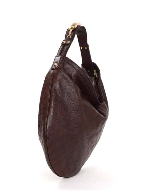 gucci brown embossed guccissima leather hobo bag  sale  stdibs