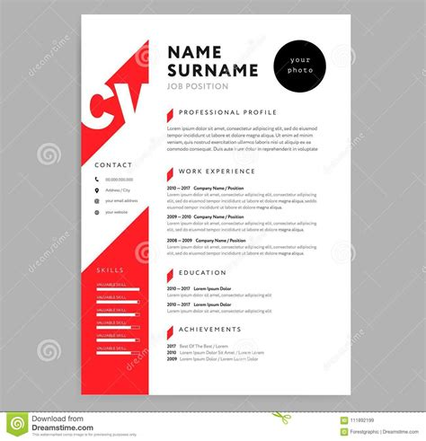 creative cv resume template red color background